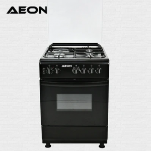 Aeon Gas Cooker 60*60 3 Gas + 1 Hot Plate 2 Burner Black